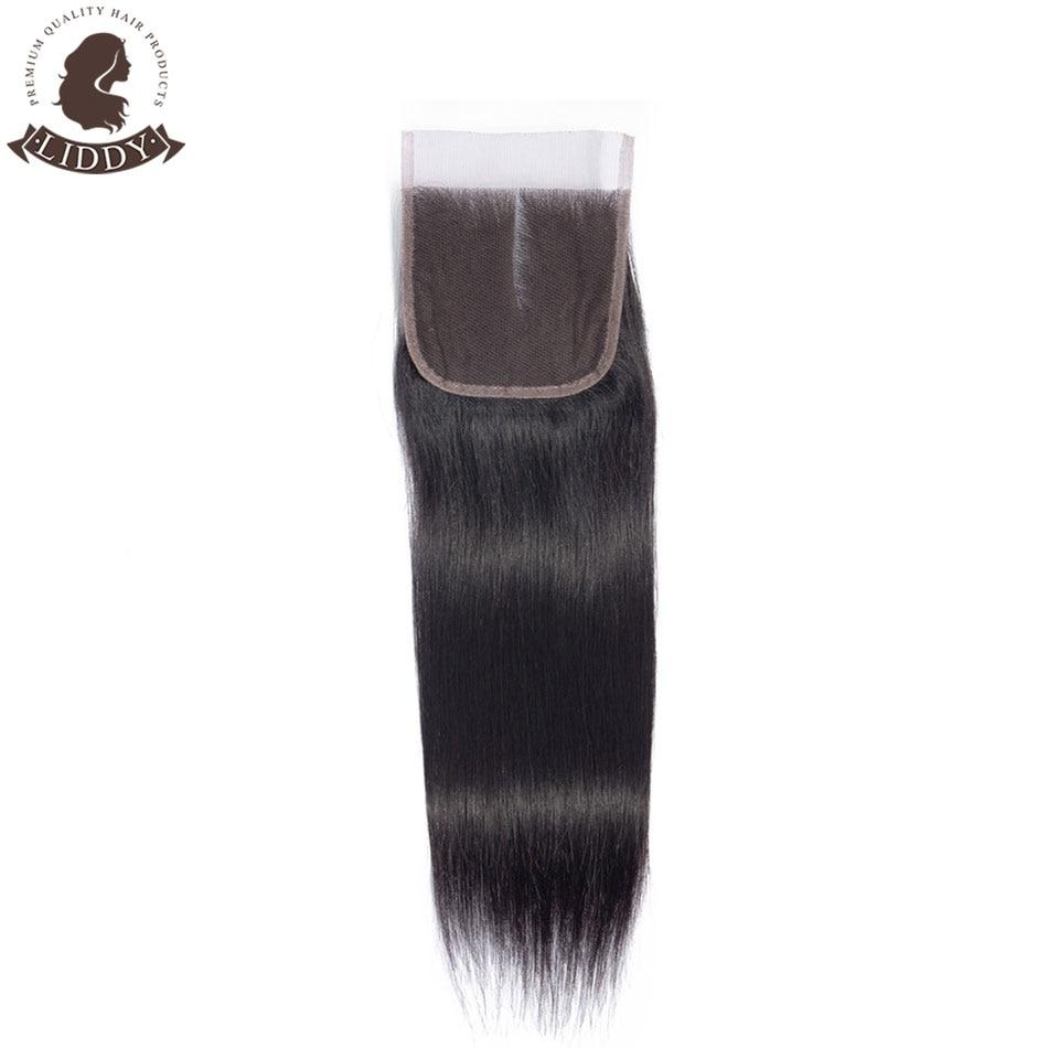 Liddy Straight 4x4 Lace Closure 100% Human Hair Closure Malaysian Hair Weaving Natural Color Non-remy Hair Frontal Closure