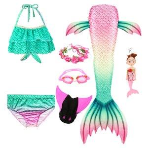 Image 3 - Queue de sirène pour filles, Costume de sirène nageuse avec aileron, guirlande de lunettes et poupée sirène pour enfants, nouvelle collection, à la mode