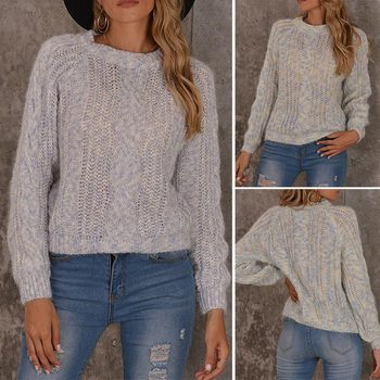 Vintage Loose Pullover Sweater Women Autumn Winter O-Neck Full Sleeve Jumpers Cable Sweaters Knitted Tops недорого