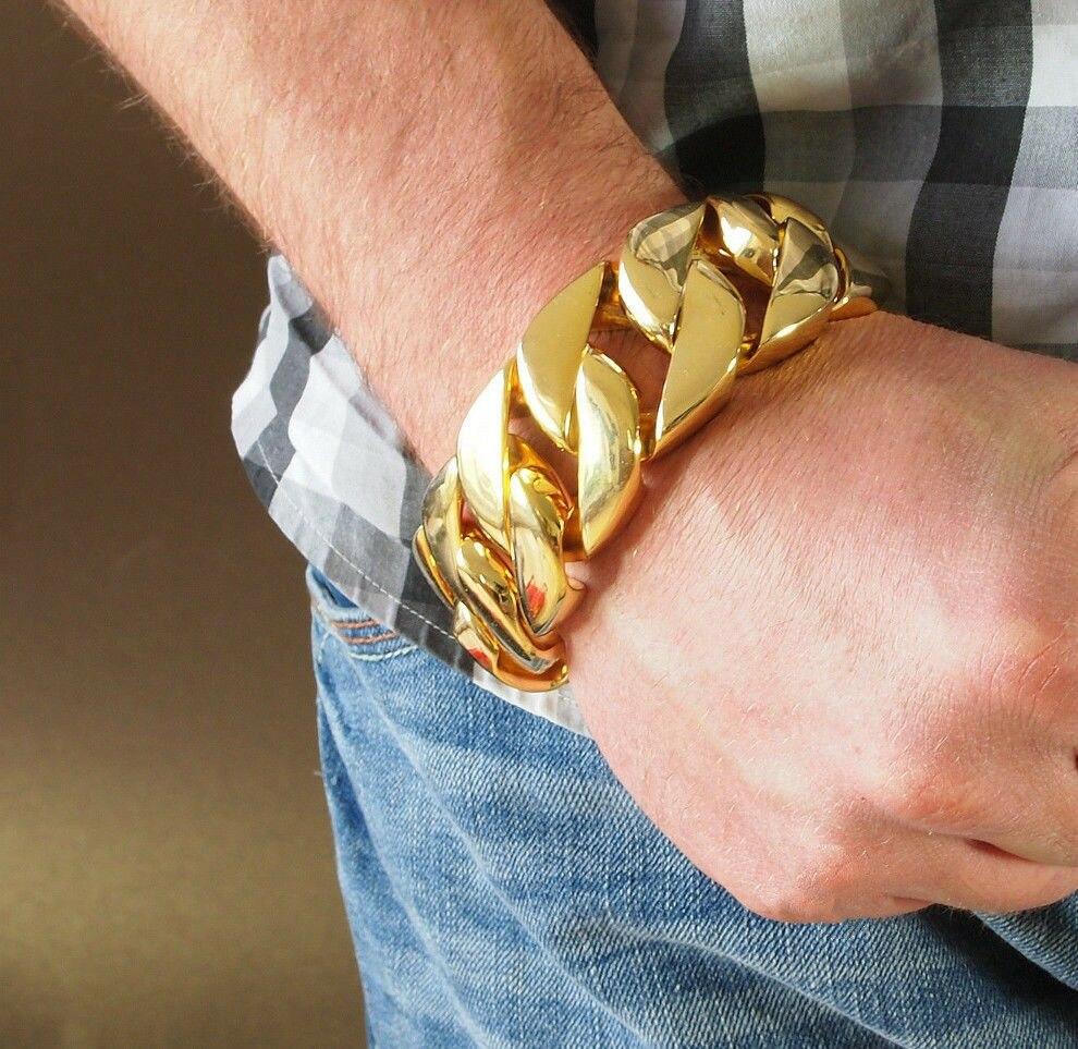 Personalizar tamaño 31mm tono dorado curvo pulsera de cadena cubana 316L pulsera de acero inoxidable cadena de eslabones pesados pulsera para hombre y mujer-in Brazaletes de cadena y enlaces from Joyería y accesorios    1