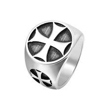 Мужской Железный Рыцари крест тамплиеров серебряный цвет Группа кольцо из нержавеющей стали 316L Винтаж Mason ювелирные изделия кольца для мужчин
