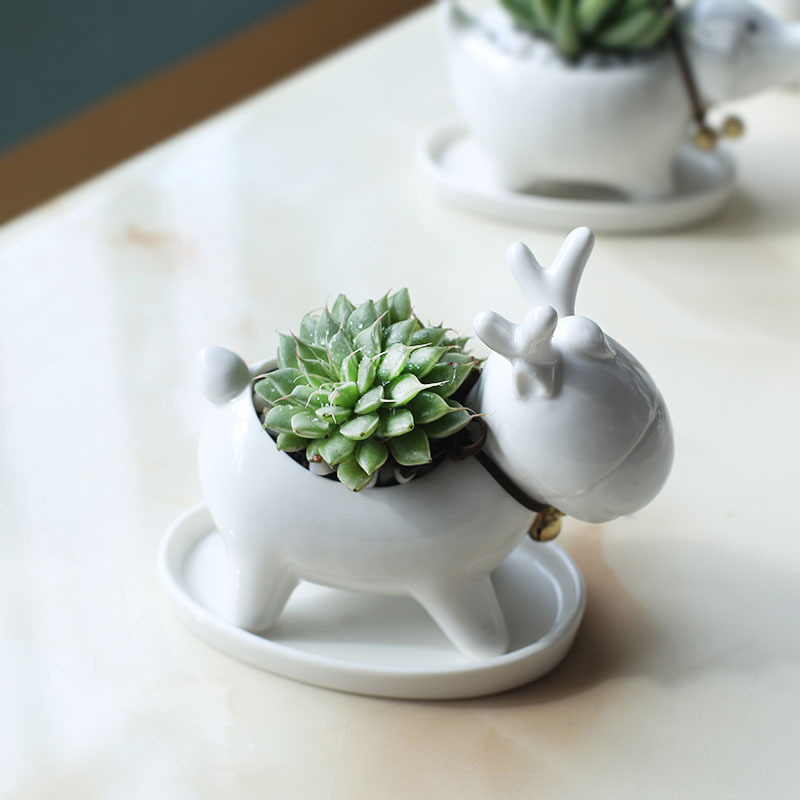 1 piece white small elk planter garden Christmas flowerpot cartoon Ceramic deer succulent plants pots for flower(without base)