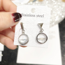 925 Silver Needle Ear Nail Asymmetric Super Fairy Short Earrings Hypoallergenic Stud