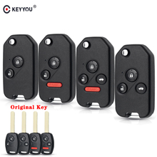 KEYYOU Modified Flip Remote Car Key Shell For for Honda Fit Civic CRV Jazz HRV Accord Pilot Insight 2/3/4 Button Foliding Key