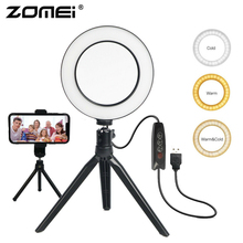 ZOMEI Selfie Ring Licht Led 6 Inch Tafellamp Camera Ring Light Studio Live Lamp met Statief Telefoon Clip voor make up Youtube Video
