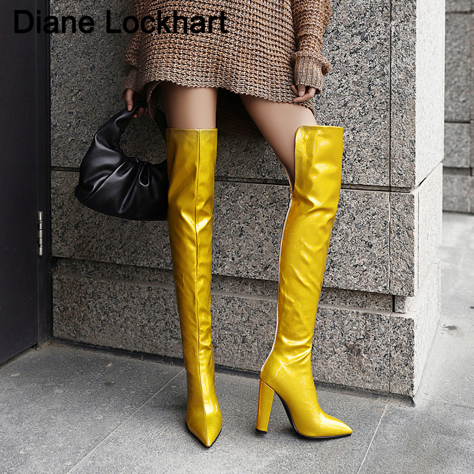 Blue Yellow Sexy Mirror Leather Thigh High Boots Women High Heels Over The Knee Boots For Women Point Toe Fetish Party Long Shoe