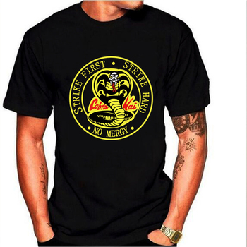 Cobra Kai season 3 Strike Hard Strike First No Mercy T Shirt short sleeve men shirt unisex 1