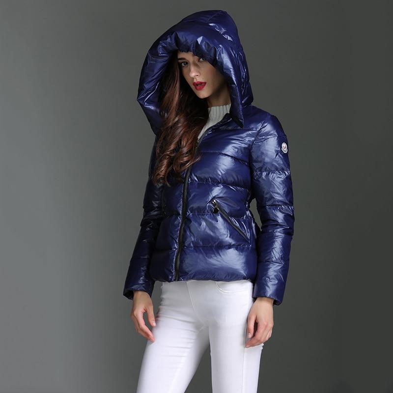 Hot White Duck Down 90% Winter Down Coat Women Fashion Short Bread Casual Solid Loose Long Sleeve Hooded Outwear Female Coat