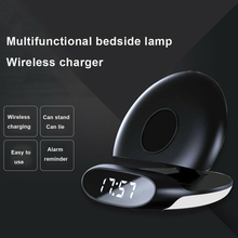 Portable Safe Wireless Charger Bracket Vertical With Alarm Clock Dock Universal Stand Base LED 10W QI Travel Fast Charging