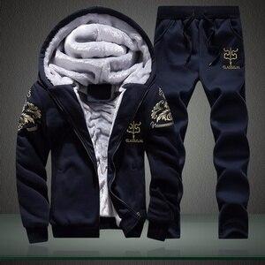 Image 2 - Kış erkek setleri Hoodies sıcak kalın polar rahat eşofman erkek spor kapşonlu ceket + pantolon 2 adet setleri baskılı eşofman erkek