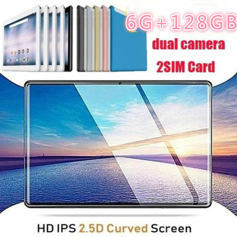HD IPS 2.5D Screen 10 Inch Android 8.0 Ten Core 4G Network New WiFi Tablet PC Dual SIM Call Phone Tablet Gifts(RAM 6G+ROM128G)