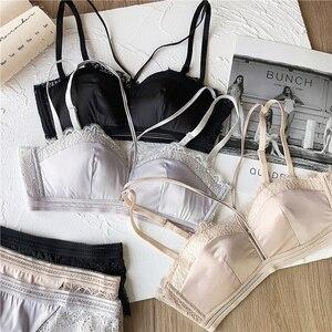 Image 4 - ผู้หญิงชุดชั้นในเซ็กซี่ชุดชุดชั้นใน Hollow OUT ครึ่งถ้วยชุดชั้นในผ้าฝ้ายบางถ้วย Temptation กางเกงกางเกงผ้าไหมสายฟรีชุดชั้นใน