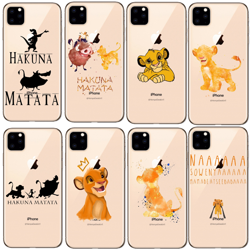 <font><b>Lion</b></font> <font><b>King</b></font> Pumba <font><b>Hakuna</b></font> <font><b>Matata</b></font> Soft TPU Shell For iPhone 11 11Pro 5S SE 6 6S 6 7 8Plus Max XS XR X10 Soft silicone cover image