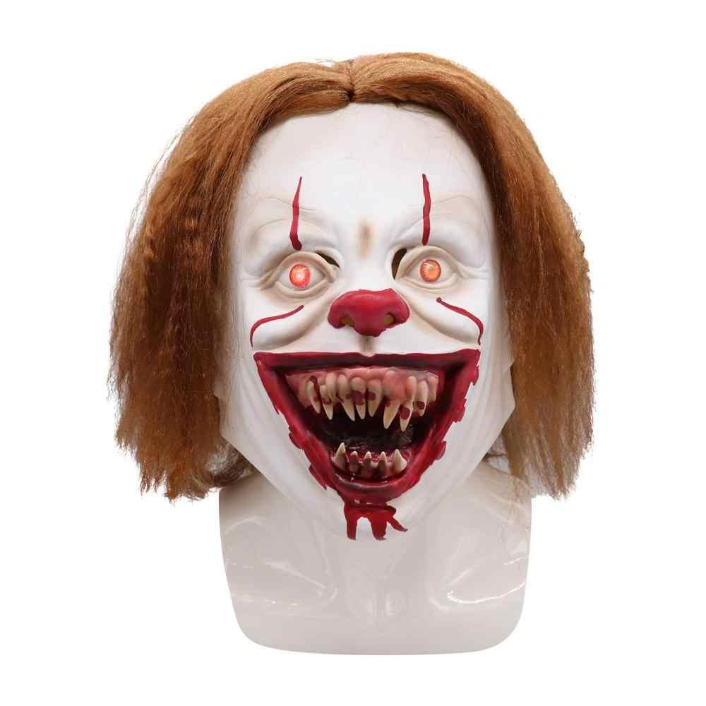 Deluxe LED Baru Horor Pennywise Joker Masker Berubah Warna Cosplay Stephen King Ini Bab Dua Badut Helm Pesta Halloween Alat Peraga