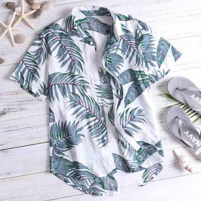 Мужская гавайская рубашка модные рубашки топы с принтом уличная пляжная одежда с воротником-стойкой, свбодная Camisa плюс размер 2019 новые мужские рубашки