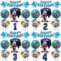 Мультяшные звуковые фольгированные шары, 1 комплект, 30 дюймов, цифры 1-9, фольгированные шары для мальчиков, детей, украшения для дня рождения,...