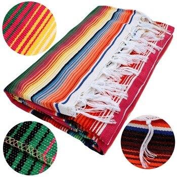 Ethnic Rainbow Striped Beach Towel Bohemia Mexican Navajo Serape Blanket Multifunctional Bathroom Towel/tablecloth/Sofa Towel 4