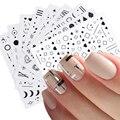 6 шт./компл. черного и золотого цвета красочные геометрические линии 3D наклейки для ногтей в форме сердца лунные стикеры нейл-арта слайдер де...