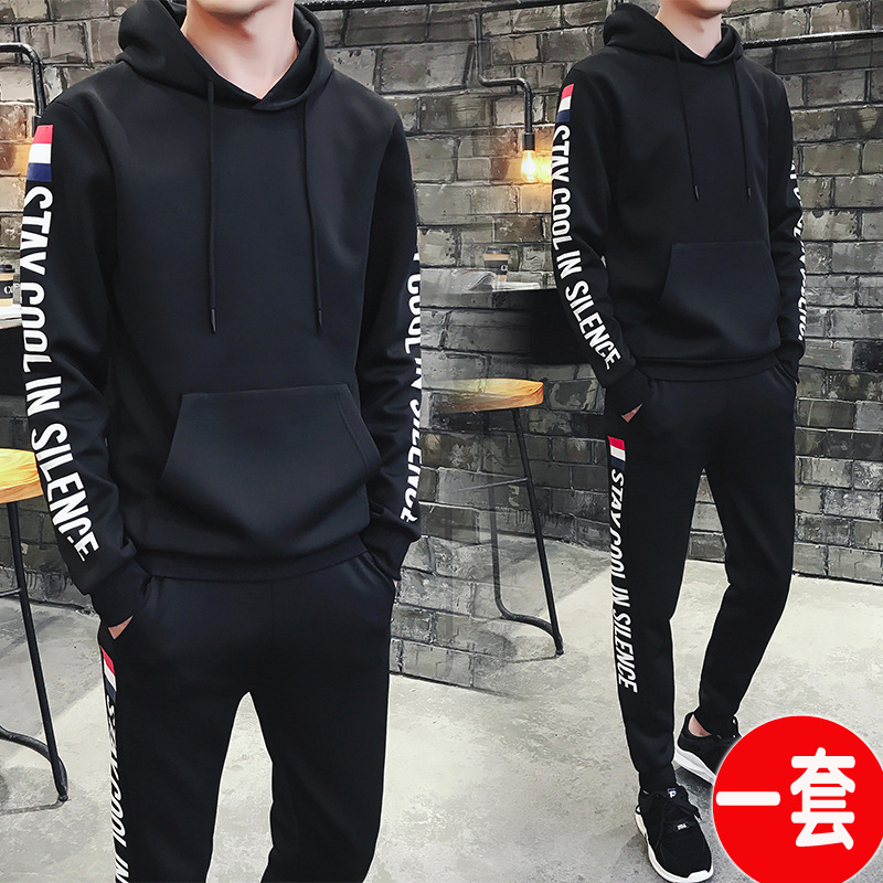 2019 New Style Casual MEN'S Sportswear Spring And Autumn Hooded Pullover Hoodie Suit Korean-style Trend Coat Clothes
