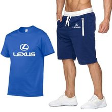 Mens Short sleeve for Lexus Car Logo Summer t Shirt Hip Hop Harajuku T-Shirt high quality Cotton T Shirts pants suit Sportswear(China)
