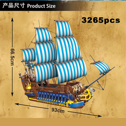 3265pcs Adventure Paddle Blue Sail Pirate Ship Building Blocks Constructor Technicing Blocks Building Model Designer for Boys
