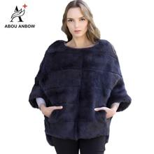 Новинка, кролик мех пальто с рукавами «летучая мышь» Меховая куртка Для женщин осень-зима натуральный розовый Короткие свободные норки пальто из натурального меха, женская обувь
