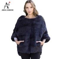 2019 Newest Rabbit Fur Coat Bat sleeved Fur Jacket Women's Autumn and Winter Natural Pink Short Loose Mink Real Fur Coat Female