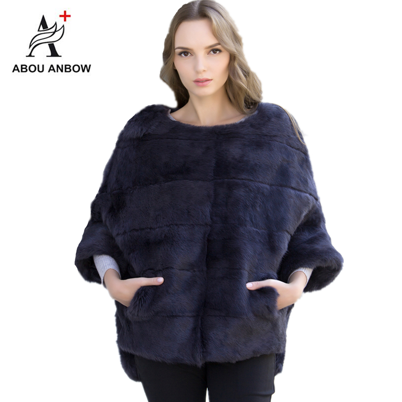 2019 Newest Rabbit Fur Coat Bat Sleeved Fur Jacket Women's Autumn And Winter Natural Pink Short Loose Mink Real Fur Coat Female