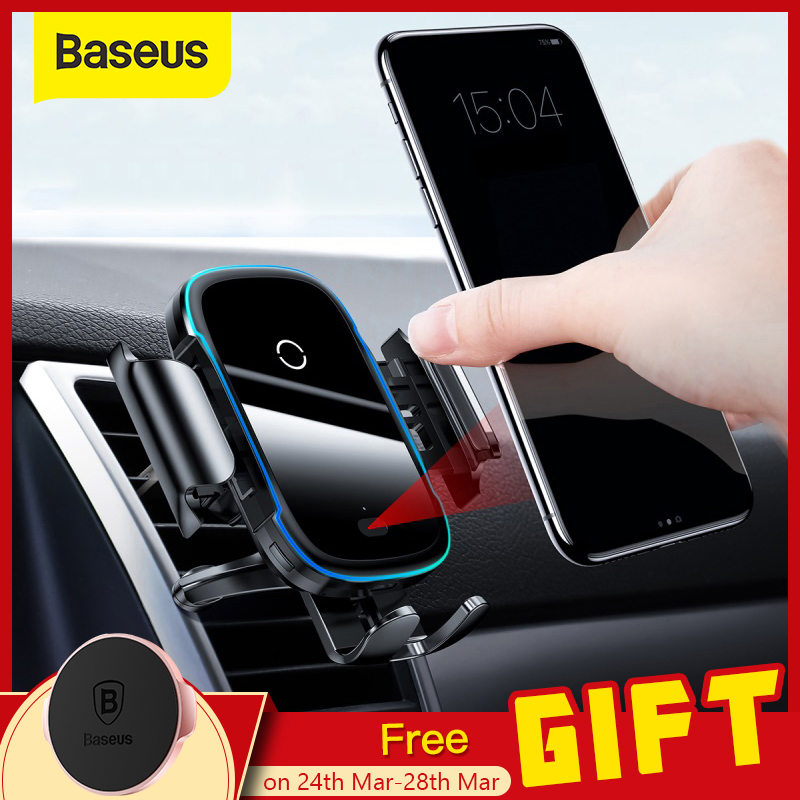 Baseus 15W Wireless Car Charger For IPhone 11 Pro Samsaung Fast Wireless Charging Intelligent Infrared Qi Wireless Charger