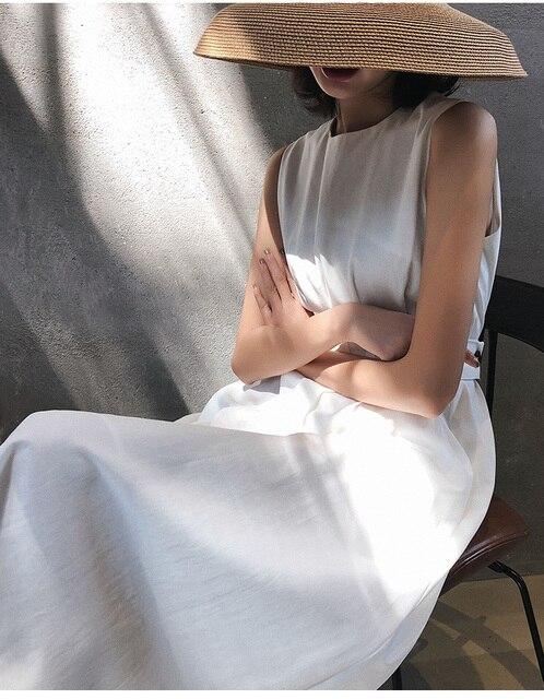 2020 Summer Women Solid White Black Fashion Elegant Casual Party Dress O neck Sleeveless Tank Sundress Female Vestido 4