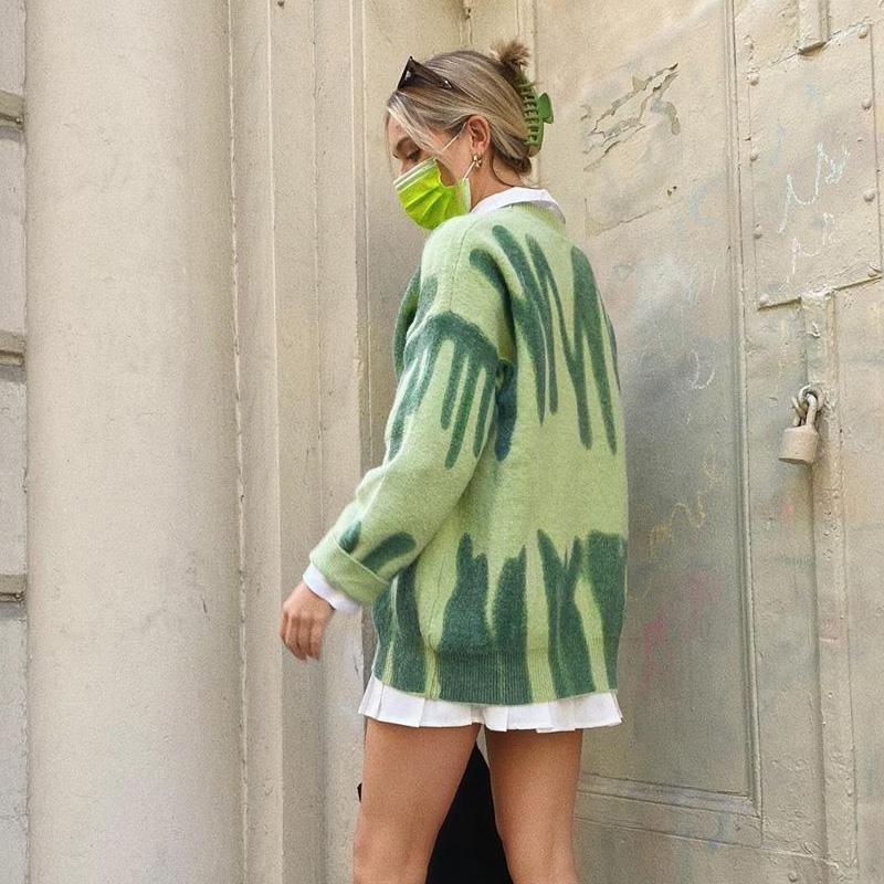 Fashion Stripes Sweaters Women Oversized Y2K Winter Knitted Warm Pullovers Female Long Jumpers Streetwear Loose Outerwear 2020