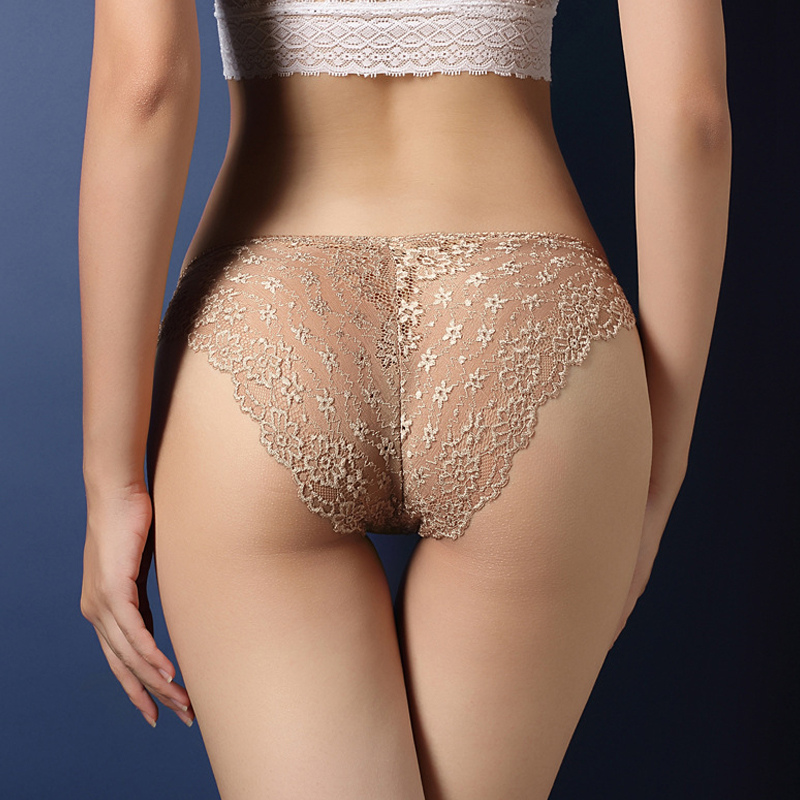 M-XXLUnderwear Pants Sexy Water-soluble Lace Women Panties Ultra-thin Traceless Low Waist Hollow Raised Lingerie Briefs