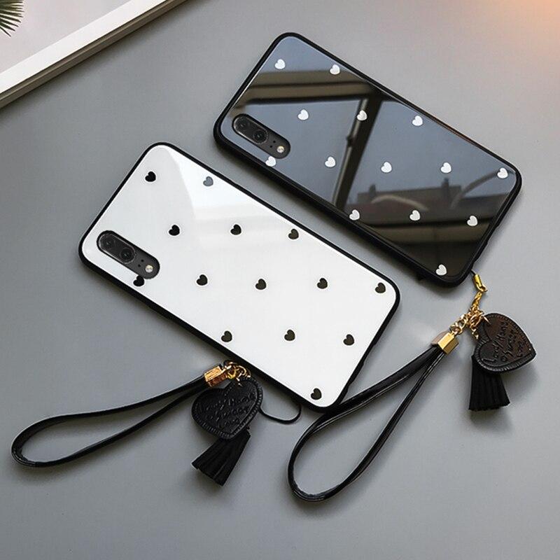Case & Strap For VIVO Y91C Y12 Y15 V17 Pro phone Case For VIVO y70 y93 y83 y81s y81 u3x cover Small Love Heart Glass Hard Casing
