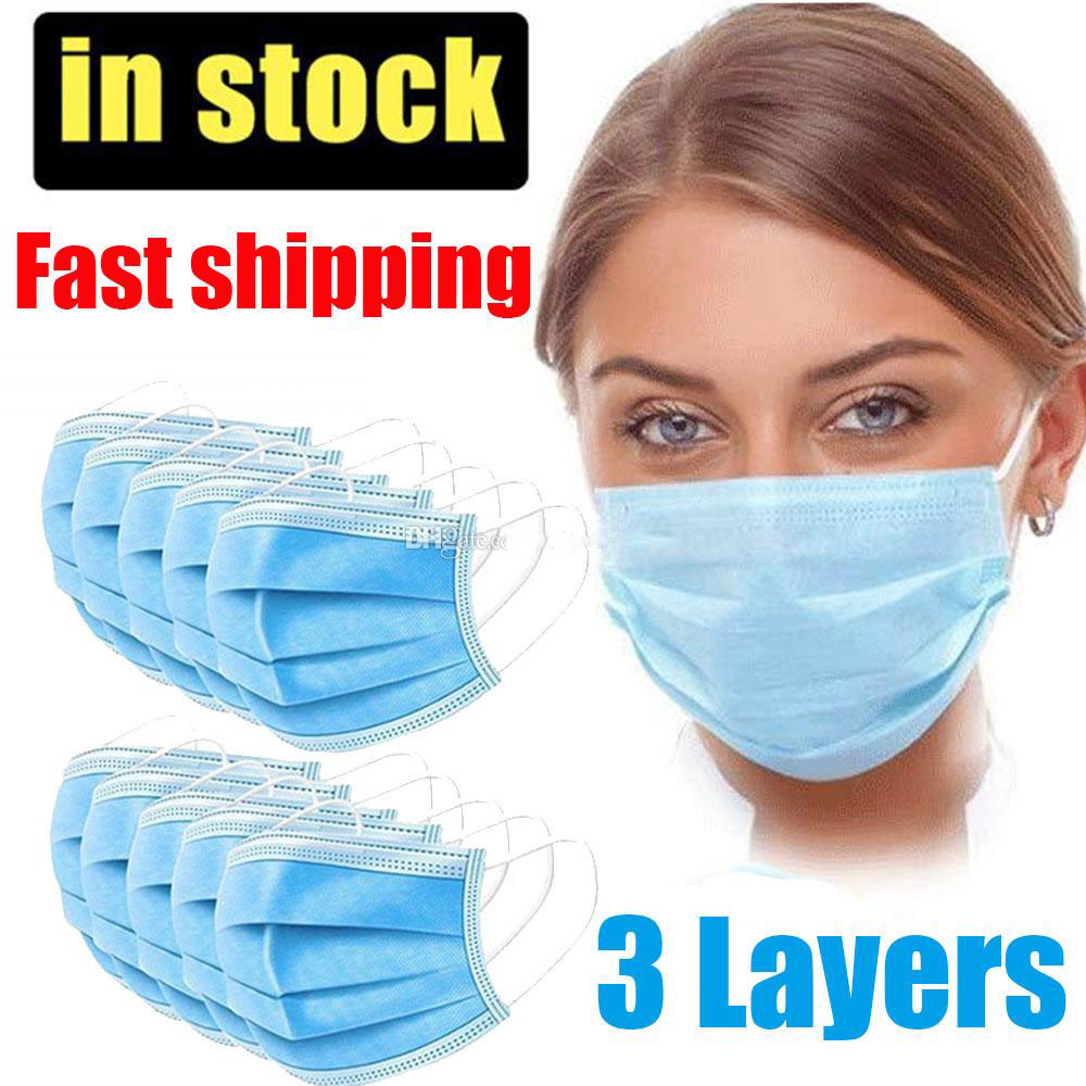 Wholesale Face Mask 3 Layer Ear-loop Air Dust Pollution Protection Masks Mouth Cover 3-Ply Non-woven Disposable Mask