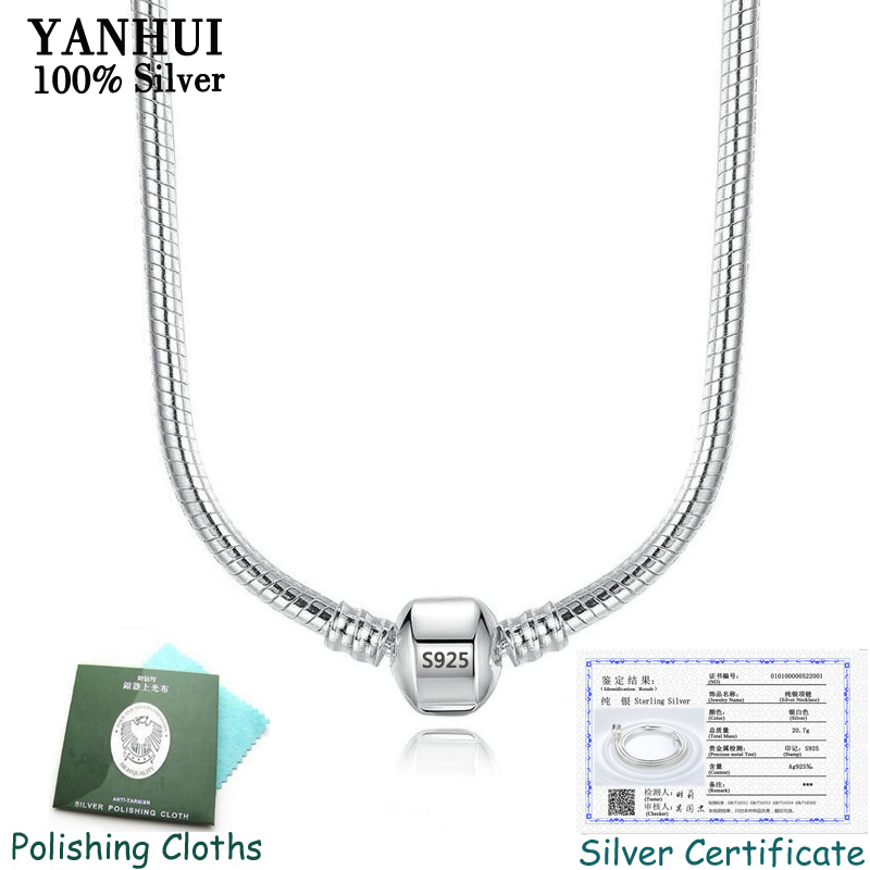 2020 Hot Sale Fine 3mm 45CM 925 Silver Snake Chain Necklace With Certificate Fit Original Beads Charms Pendants DIY Jewelry Gift