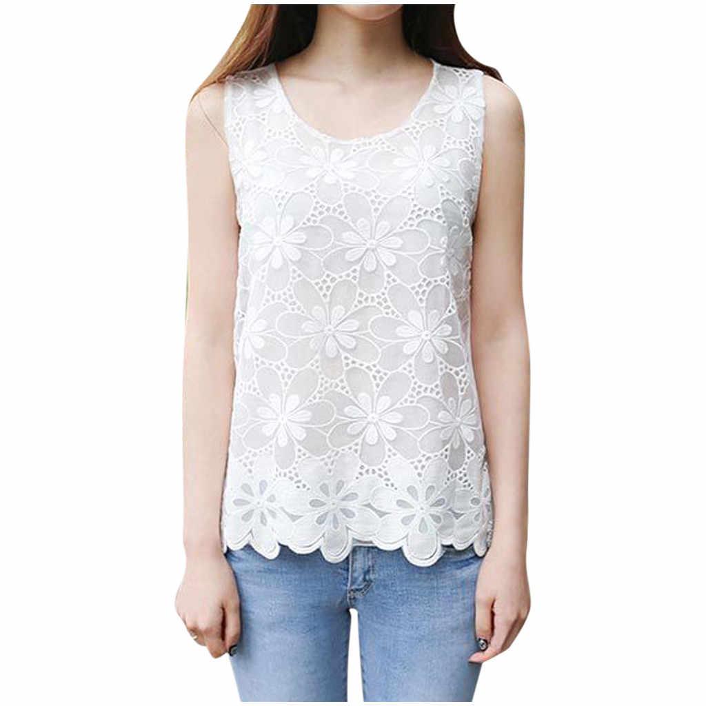 Verano sin mangas blusas Sexy encaje Floral blusa dama casual streetwear camisetas transpirables para vacaciones sobre tamaño 4XL 5XL 6XL