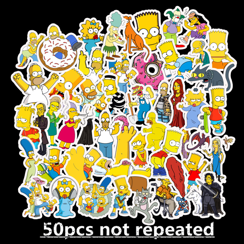 50pcs/Lot Funny Anime Cartoon Simpsons Graffiti Stickers For Moto Car & Suitcase Cool Laptop Stickers Skateboard Kids Stickers