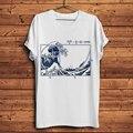 Мужская футболка с короткими рукавами, белая Повседневная футболка с коротким рукавом и надписью fibonci in The Great Wave off Kanagawa