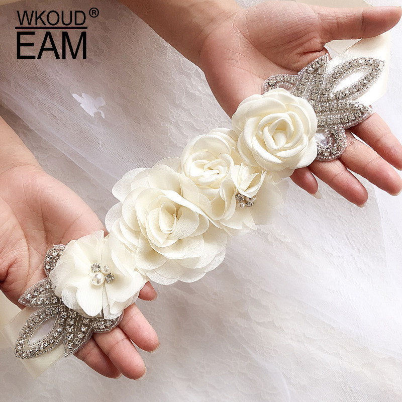 WKOUD EAM 2020 New Rose Flower Pearl Waistband Women Fashion High Quality Bow Wedding Dress Waistband Lady Tide PE070