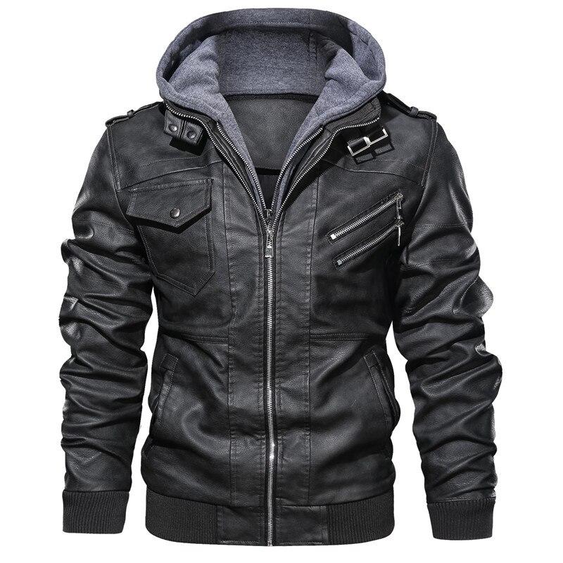 MORUANCLE hommes décontracté hiver chaud en cuir Biker vestes et manteaux avec capuche polaire doublé PU survêtement épais thermique pardessus