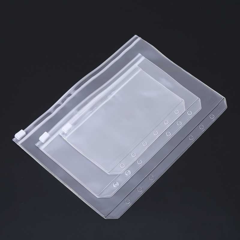 Clear PVC Storage Bag Pouch For Notebook Diary Day Planner Zipper Business Cards