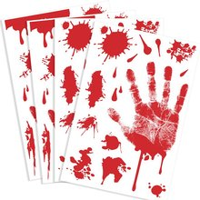 METABLE 4 Pcs Bloody Handprint Clings Horror PVC Stickers Decals for Halloween Decorations