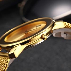 Image 2 - MISSFOX 40mm 미니멀리스트 시계 여성 5.8mm 울트라 얇은 케이스 스틸 메쉬 dw 시계 클래식 방수 골드 아날로그 여성용 쿼츠 시계