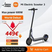 Xiaomi-patinete eléctrico Mi 3 para adulto, Scooter inteligente con batería de 7650mAh y distancia de 30km