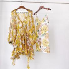 Women billowing blouson sleeves floral print silk mini dress with tiers ruffles