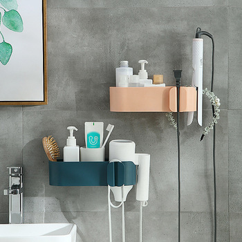 Air Dryer Rack Hole-Free Bathroom Toilet Toilet Storage Shelf Wall-Mounted Hair Dryer Rack Air Cylinder Rack ledfre wall hair dryer rack bathroom hair dryer storage rack free of punch wall mounted hair dryer rack for bathroom
