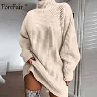 Forefair Oversized Knitted Dress Sweater Autumn 2019 Solid Long Sleeve Casual Elegant Mini Warm Winter Turtleneck Dress Women