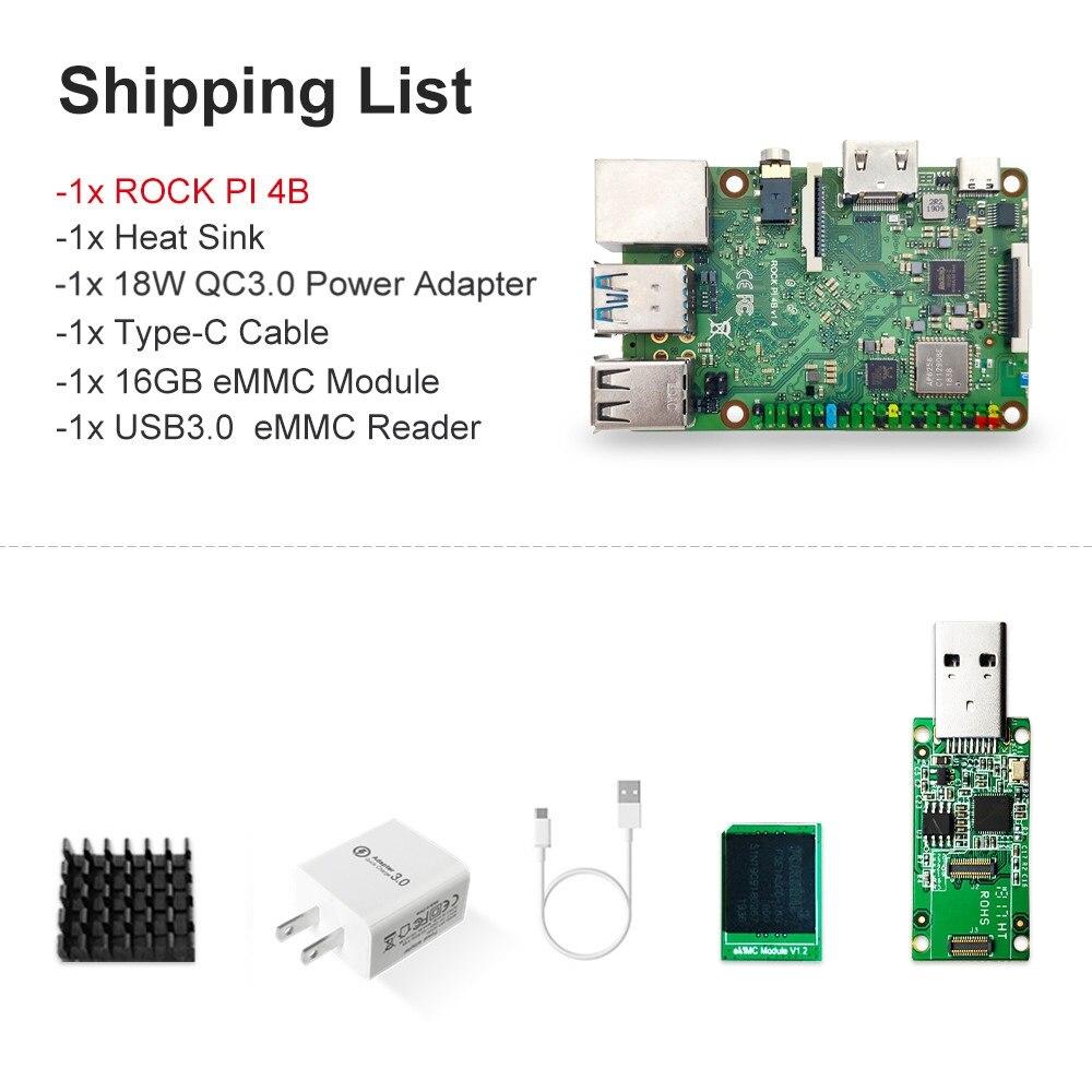 ROCK PI 4B V1.4 avec accessoires iRockchip RK3399 bras Cortex SBC/ordinateur à carte unique Compatible avec l'affichage framboise Pi