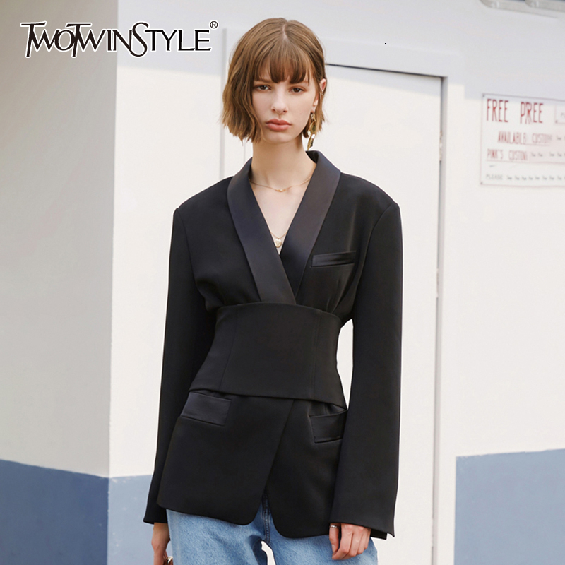 TWOTWINSTYLE Casual Slim Tunic Blazers For Female Notched Long Sleeve High Waist Autumn Women's Suits Fashion 2020 Clothing Tide