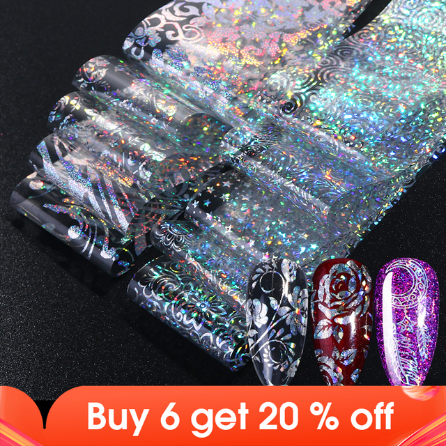 Holographic Nail Foil Polish Stickers Transfer Starry Sky Laser Sliders Transparent Nail Art Decal Manicure Designs JI1040 1